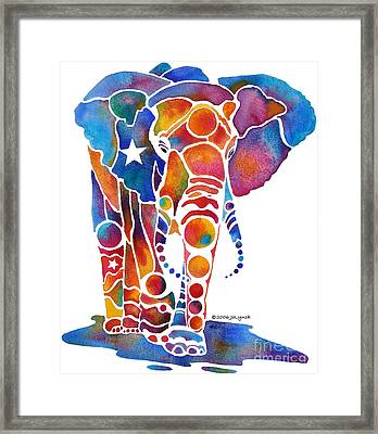 The Most Whimsical Elephant Framed Print by Jo Lynch