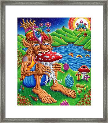 The Muncher Of Mushroomland Framed Print by Chris Dyer