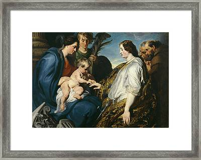 The Mystic Betrothal Of Saint Catherina Framed Print by Anthony van Dyck