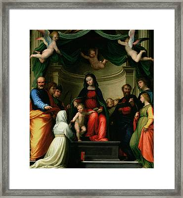 The Mystic Marriage Of St Catherine Of Siena With Saints Framed Print by Fra Bartolommeo - Baccio della Porta