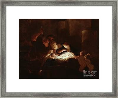 The Nativity Framed Print by Pierre Louis Cretey or Cretet