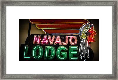 The Navajo Lodge Sign In Prescott Arizona Framed Print by David Patterson