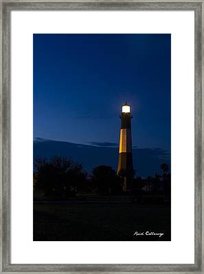 The Night Watcher Tybee Island Lighthouse Framed Print by Reid Callaway