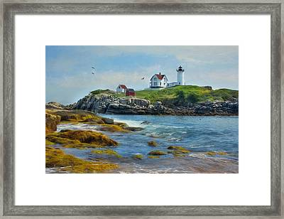 The Nubble Lighthouse Framed Print by Lori Deiter