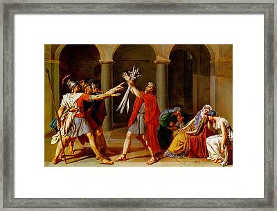 The Oath Of The Horatii Framed Print by Jacques Louis David