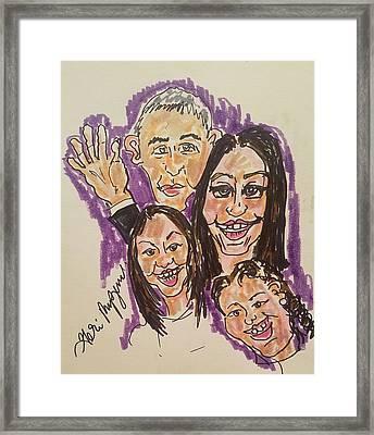 The Obama Family Farwell Tour  Framed Print by Geraldine Myszenski