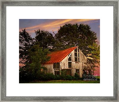 The Old Lowdermilk Barn - Red Roof Barn Rustic Country Rural Antique Framed Print by Jon Holiday
