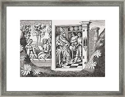 The Old Man Of The Mountain Giving Framed Print by Vintage Design Pics