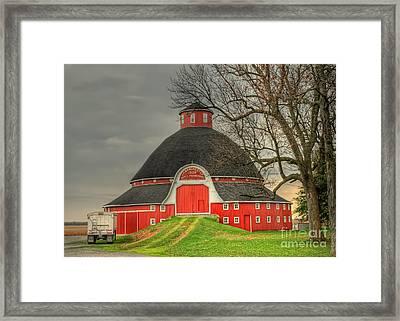 The Old Round Barn Of Ohio Framed Print by Pamela Baker