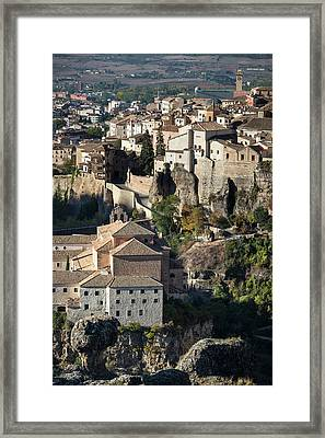 The Old Town Of Cuenca And The Hoz Del Huecar Gorge, Spain 3 Framed Print by Peter Eastland