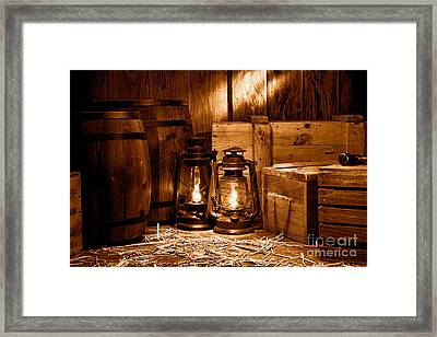 The Old Warehouse - Sepia Framed Print by Olivier Le Queinec