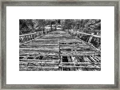 The Old Wooden Bridge In Black And White Framed Print by JC Findley