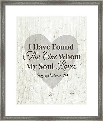 The One Whom My Sould Loves- Art By Linda Woods Framed Print by Linda Woods