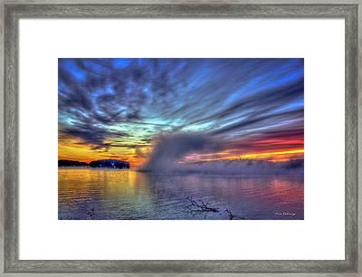 The Otherworldly Sunrise Sugar Creek Lake Oconee Framed Print by Reid Callaway