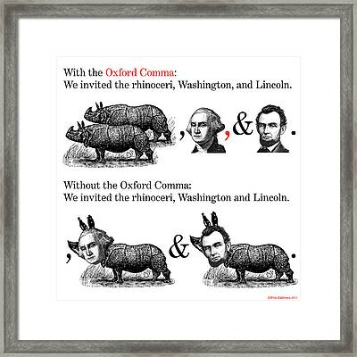The Oxford Comma Framed Print by Eric Edelman