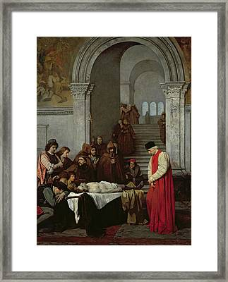 The Painter Luca Signorelli Standing By The Body Of His Rival's Dead Son Framed Print by Ferdinand Heilbuth