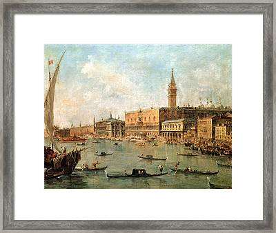 The Palace And The Molo From The Basin Of San Marco Framed Print by Francesco Guardi