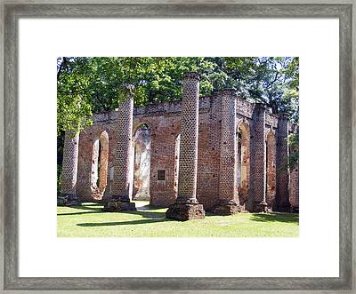 The Palmetto Phoenix Old Sheldon Church Ruins Framed Print by Elena Tudor