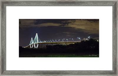 The Path Above The Ships Arthur Ravenel Jr Bridge Charleston South Carolina Framed Print by Reid Callaway