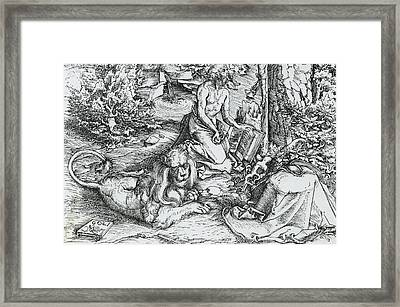 The Penitence Of Saint Jerome Framed Print by Lucas the elder Cranach