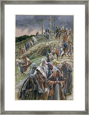 The People Beholding The Things That Were Done Smote Their Breasts Framed Print by Tissot