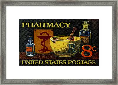 The Pharmacy Stamp Framed Print by Lanjee Chee