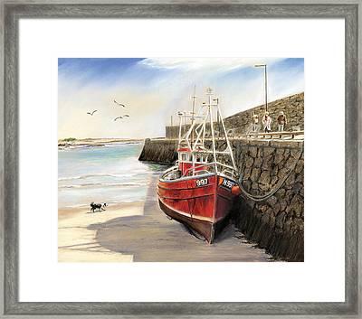 The Pier At Spiddal Galway Ireland Framed Print by Irish Art