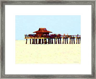 The Pier - Beach Pier Art Framed Print by Sharon Cummings