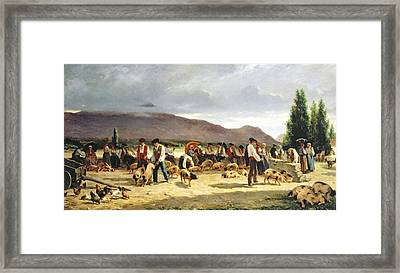 Shopping Cart Framed Print featuring the painting The Pig Market by Pierre Edmond Alexandre Hedouin