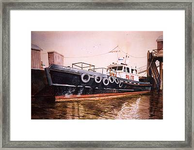 The Pilot Boat Framed Print by Marguerite Chadwick-Juner