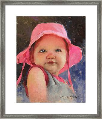 The Pink Hat - Cecelia At 11 Months Framed Print by Anna Rose Bain