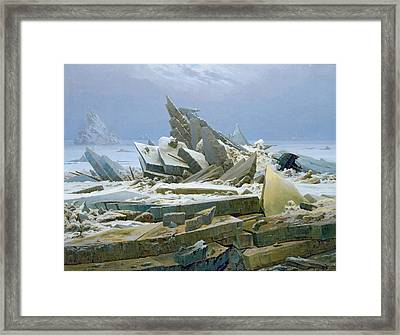 The Polar Sea Framed Print by Caspar David Friedrich