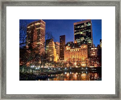 The Pond At Central Park Framed Print by June Marie Sobrito