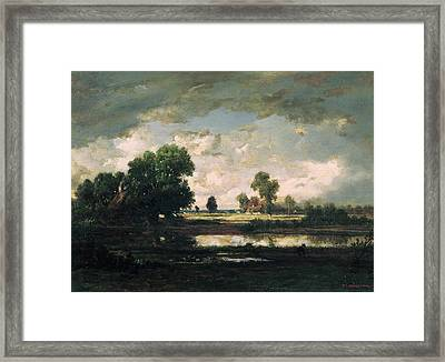 The Pool With A Stormy Sky Framed Print by Pierre Etienne Theodore Rousseau