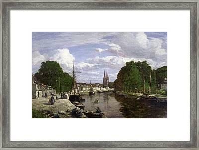 The Port At Quimper Framed Print by Eugene Louis Boudin