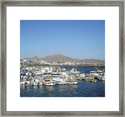 The Port Of Playa Blanca Lanzarote Framed Print by Jeff Townsend
