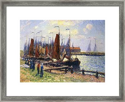 The Port Of Volendam Framed Print by Henry Moret