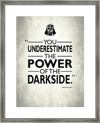 The Power Of The Darkside Framed Print by Mark Rogan