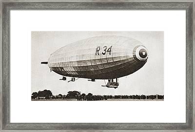 The R34, Rigid Airship, Landing At Framed Print by Vintage Design Pics