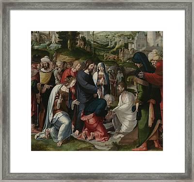 The Raising Of Lazarus Framed Print by Aertgen Claesz van Leyden