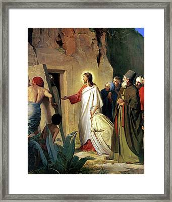 The Raising Of Lazarus Framed Print by Carl Bloch