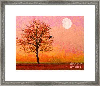 The Raven And The Moon Framed Print by Wingsdomain Art and Photography