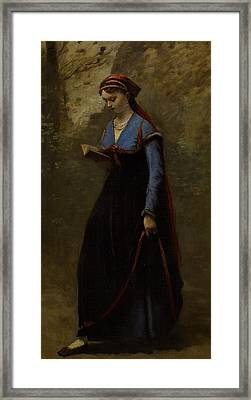 The Reader Framed Print by Jean Baptiste Camille Corot