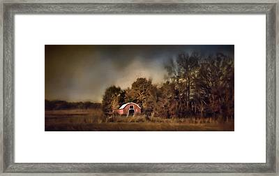 The Red Barn Welcomes Autumn Framed Print by Jai Johnson