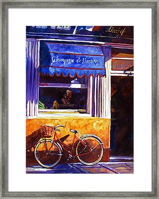 The Red Bicycle Framed Print by David Lloyd Glover