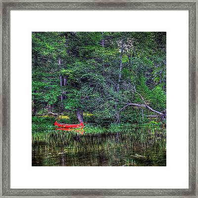 The Red Canoe Framed Print by David Patterson