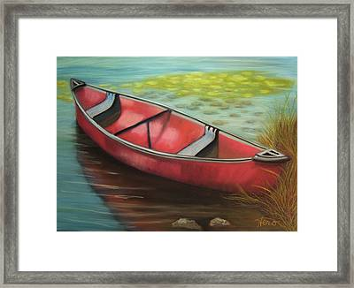 The Red Canoe Framed Print by Marcia  Hero