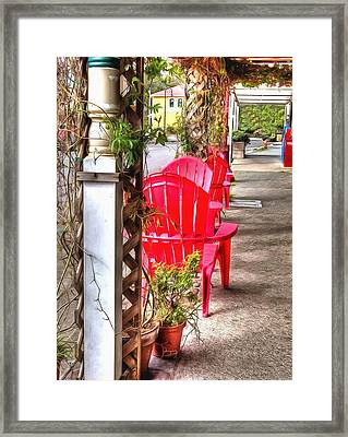 The Red Chairs In Old Town Framed Print by Thom Zehrfeld