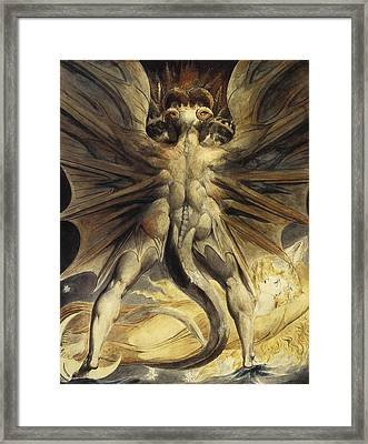 The Red Dragon And The Woman Clothed In Sun Framed Print by William Blake