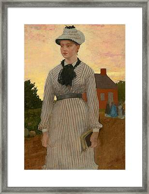 The Red School House Framed Print by Winslow Homer